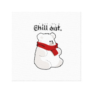 Chill Out Polar Bear Cartoon Illustration Stretched Canvas Prints
