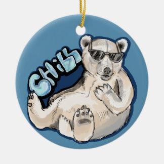 Chill Polar Bear Ceramic Ornament