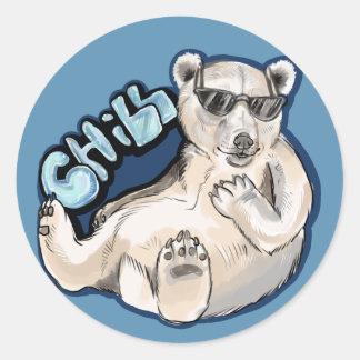 Chill Polar Bear Classic Round Sticker