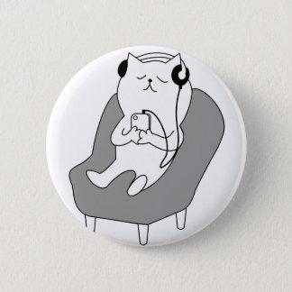 chill relax music head phones cat -1833150_920_721 6 cm round badge