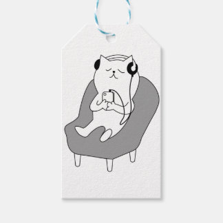 chill relax music head phones cat -1833150_920_721 gift tags