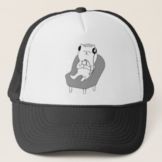chill relax music head phones cat -1833150_920_721 trucker hat