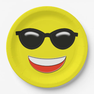 Chill Sunglasses Emoji 9 Inch Paper Plate