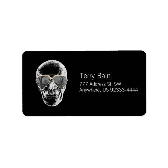 Chill Vintage Skull in Sunglasses Address Label
