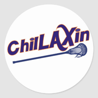 Chillaxin Lacrosse LAX Gifts Classic Round Sticker