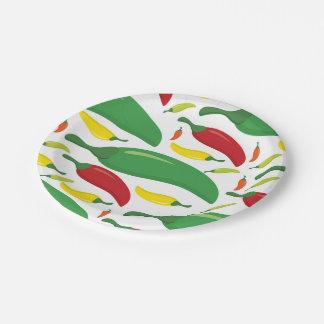 Chilli pepper pattern 7 inch paper plate