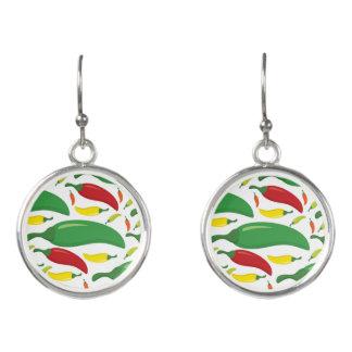 Chilli pepper pattern earrings