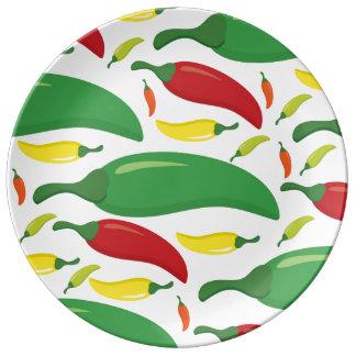 Chilli pepper pattern porcelain plates
