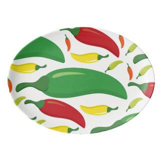 Chilli pepper pattern porcelain serving platter