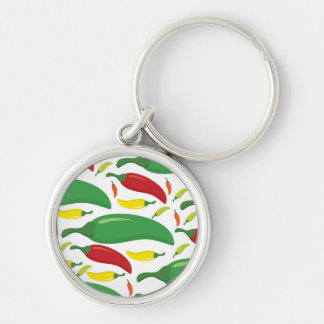 Chilli pepper pattern Silver-Colored round key ring