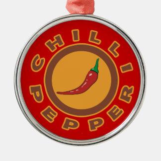 chilli pepper. spice Silver-Colored round decoration