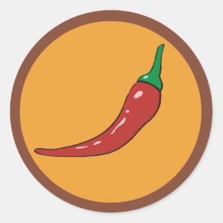 chilli pepper. spice round sticker
