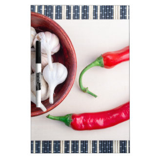 Chilli peppers and garlic in a wooden bowl Dry-Erase board