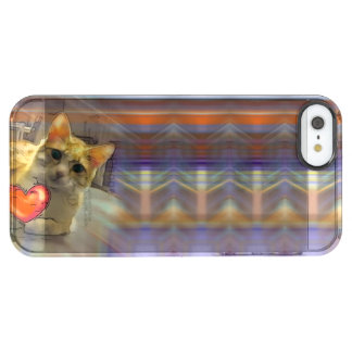 Chillin Cat flashing Heart Clear iPhone SE/5/5s Case