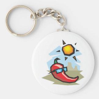 chillin chili pepper basic round button key ring