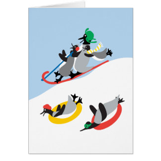 Chillin' Fun Penguins Sledding! Card