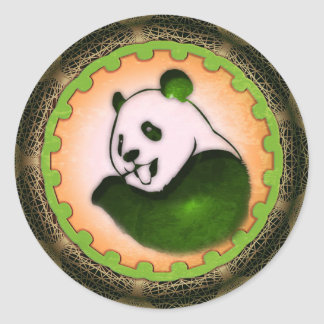 Chilling Chomping Panda Orange Classic Round Sticker
