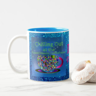 Chilling Out at the MoonDreams Coffeehouse Two-Tone Coffee Mug