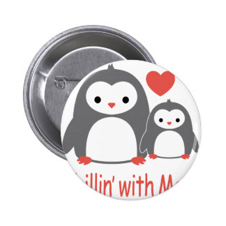 chilling with Mom, cool loving cartoons 6 Cm Round Badge