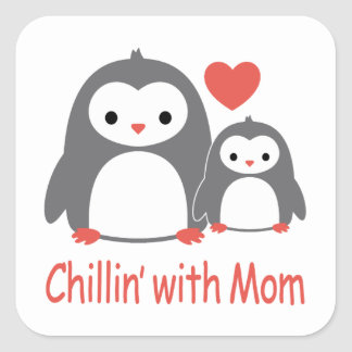 chilling with Mom, cool loving cartoons Square Sticker