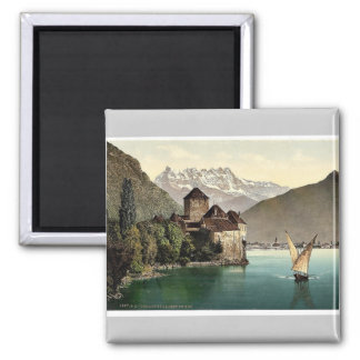 Chillon Castle, and Dent du Midi, Geneva Lake, Swi Magnet