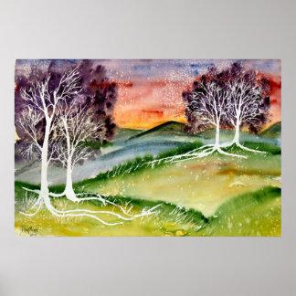 chills 2 surreal landscape watercolor poster print