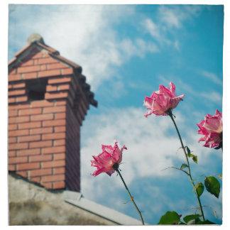 Chimney and wild roses napkin