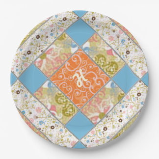 Chimney Quilt Block Pattern Paper Plate