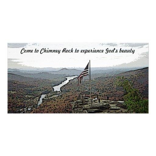Chimney Rock Mountain & Creek Customized Photo Card