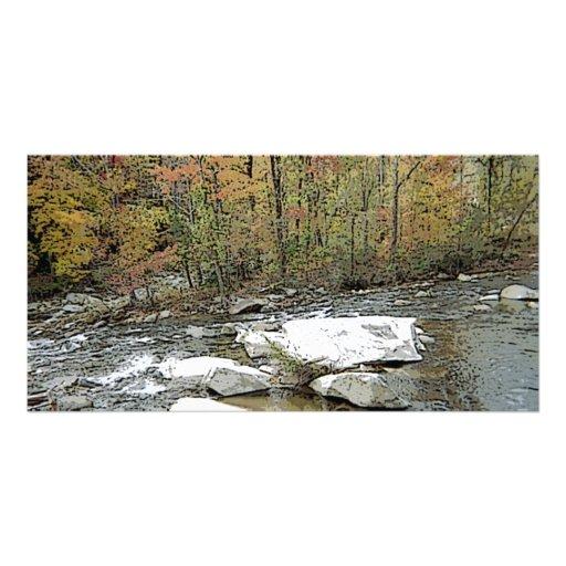 Chimney Rock Mountain & Creek Custom Photo Card