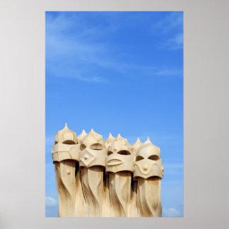Chimneys on Roof of Casa Mila (La Pedrera) Poster