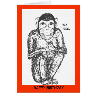 Chimp birthday card. card