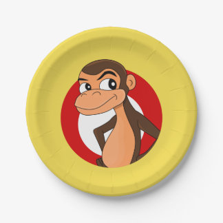 Chimp cartoon paper plate