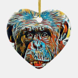 Chimp Chimpanzee Pop Art Digital Photograph Ceramic Ornament