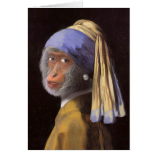 Chimp With The Pearl Earring Card