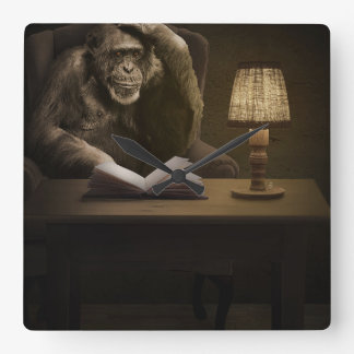 Chimpanzee Ape Monkey Square Wall Clock