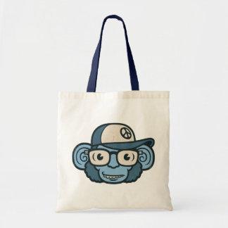 Chimpanzee in Blue Tote Bags