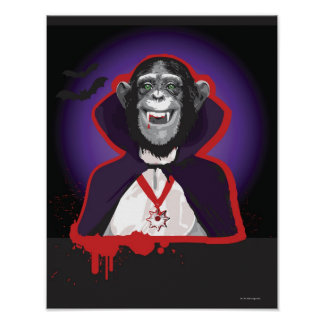 Chimpanzee in Dracula Costume Poster