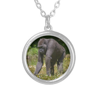 Chimpanzee in the flowering grass silver plated necklace