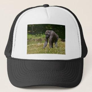 Chimpanzee in the flowering grass trucker hat