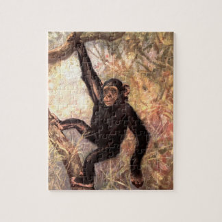 Chimpanzee Monkey by CE Swan, Vintage Wild Animals Jigsaw Puzzle