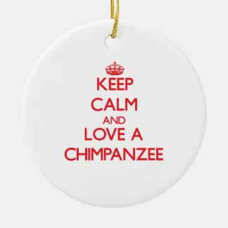 Chimpanzee Round Ceramic Decoration