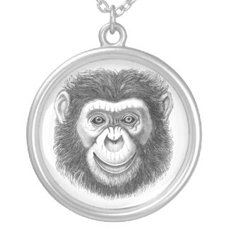 Chimpanzee Silver Plated Necklace
