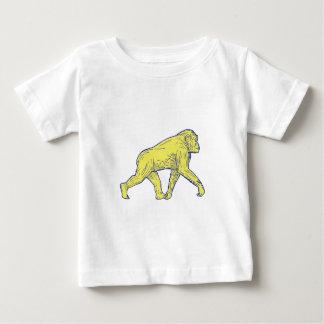Chimpanzee Walking Side Drawing Baby T-Shirt
