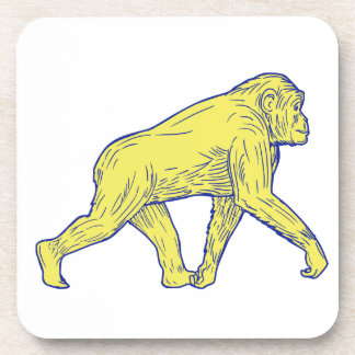 Chimpanzee Walking Side Drawing Coaster