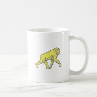 Chimpanzee Walking Side Drawing Coffee Mug