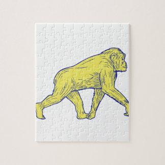 Chimpanzee Walking Side Drawing Jigsaw Puzzle