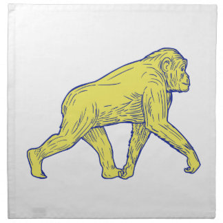 Chimpanzee Walking Side Drawing Napkin