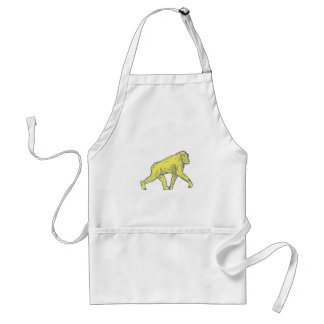 Chimpanzee Walking Side Drawing Standard Apron