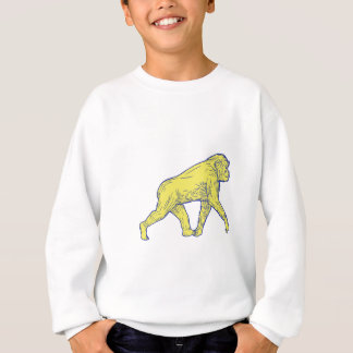Chimpanzee Walking Side Drawing Sweatshirt